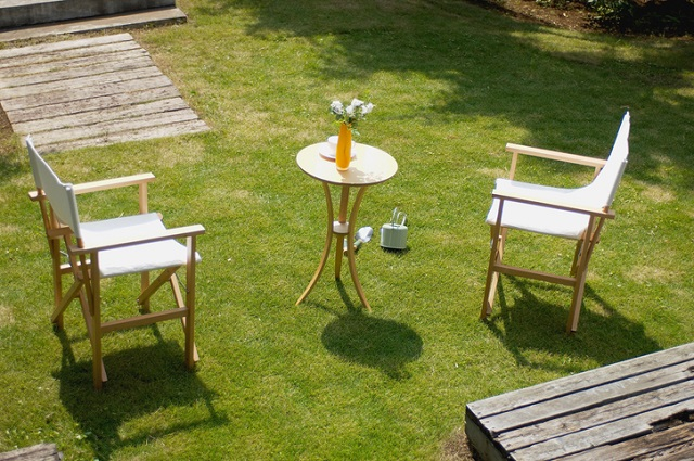 Outdoor Chairs and Table on Grass